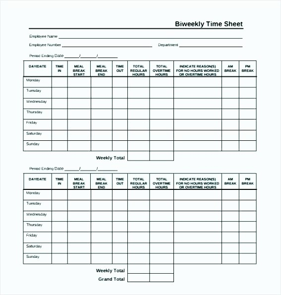 Bi Weekly Timecard with Lunch Lovely 15 Biweekly Timesheet