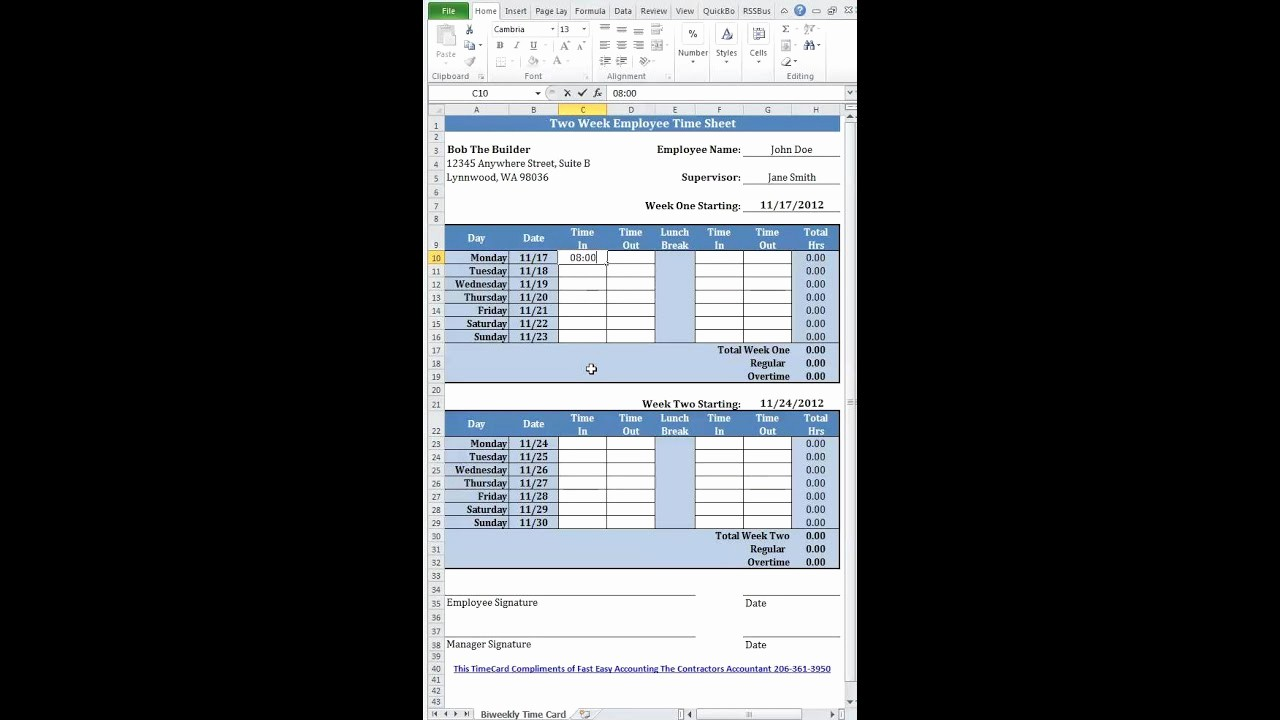 Bi Weekly Timecard with Lunch Lovely Free Simple Bi Weekly Time Card Calculator for Contractors