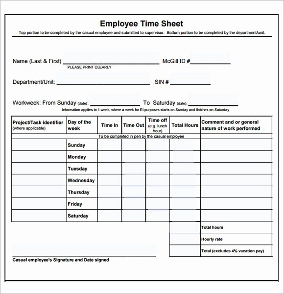 Bi Weekly Timesheet Template Free Beautiful Employee Timesheet Template 8 Free Download for Pdf