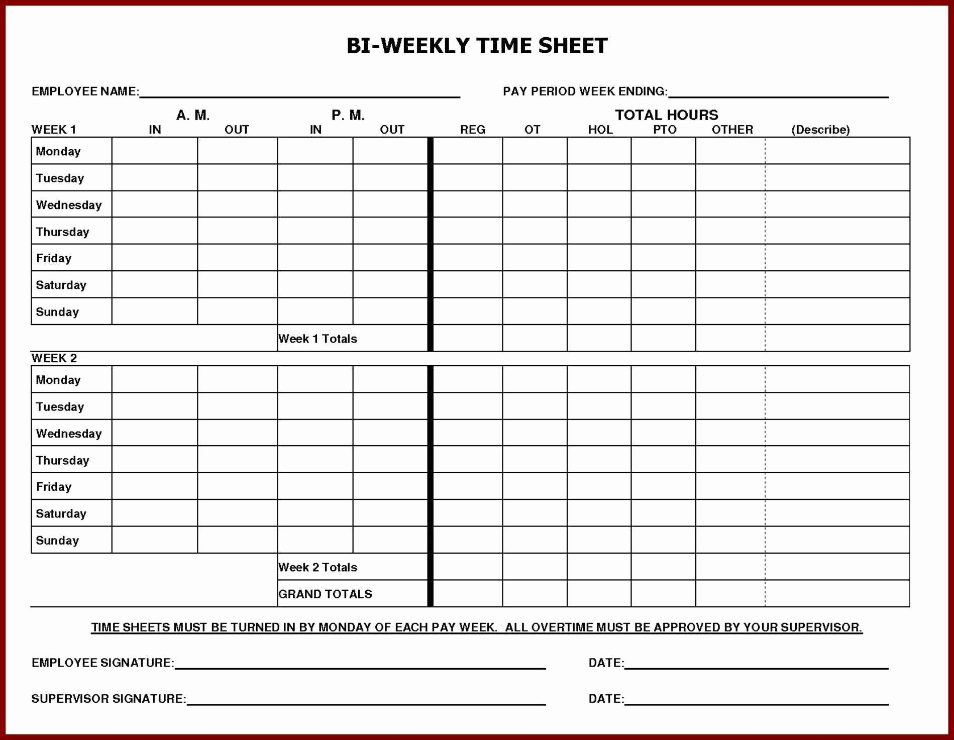 Bi Weekly Timesheet Template Free Elegant Daily Time Sheet Printable Printable 360 Degree