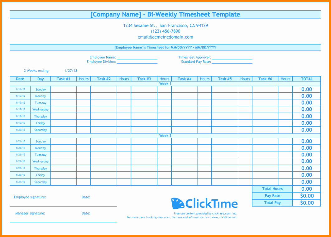 Bi Weekly Timesheet Template Free Inspirational 8 Bi Weekly Timesheet Template