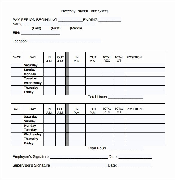 Bi Weekly Timesheet Template Free New 20 Payroll Timesheet Templates & Samples Doc Pdf