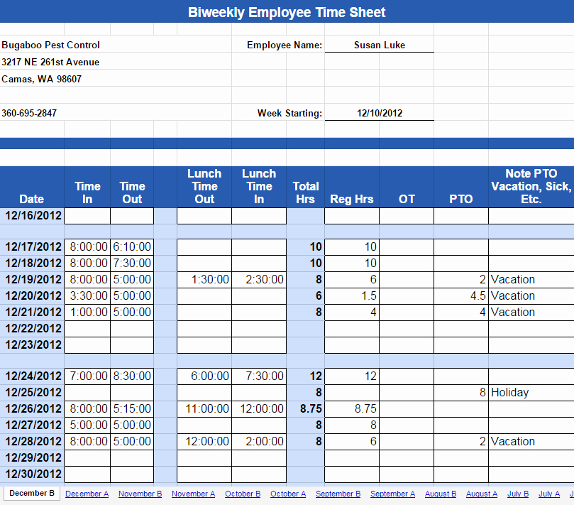 Bi Weekly Timesheet Template Free New attendance Sheet with Overtime In Excel format Build A