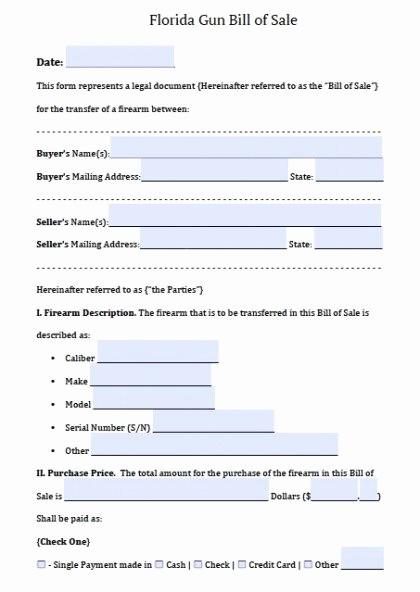 Bill Of Sale Auto Florida Elegant Free Florida Firearm Bill Of Sale form Pdf