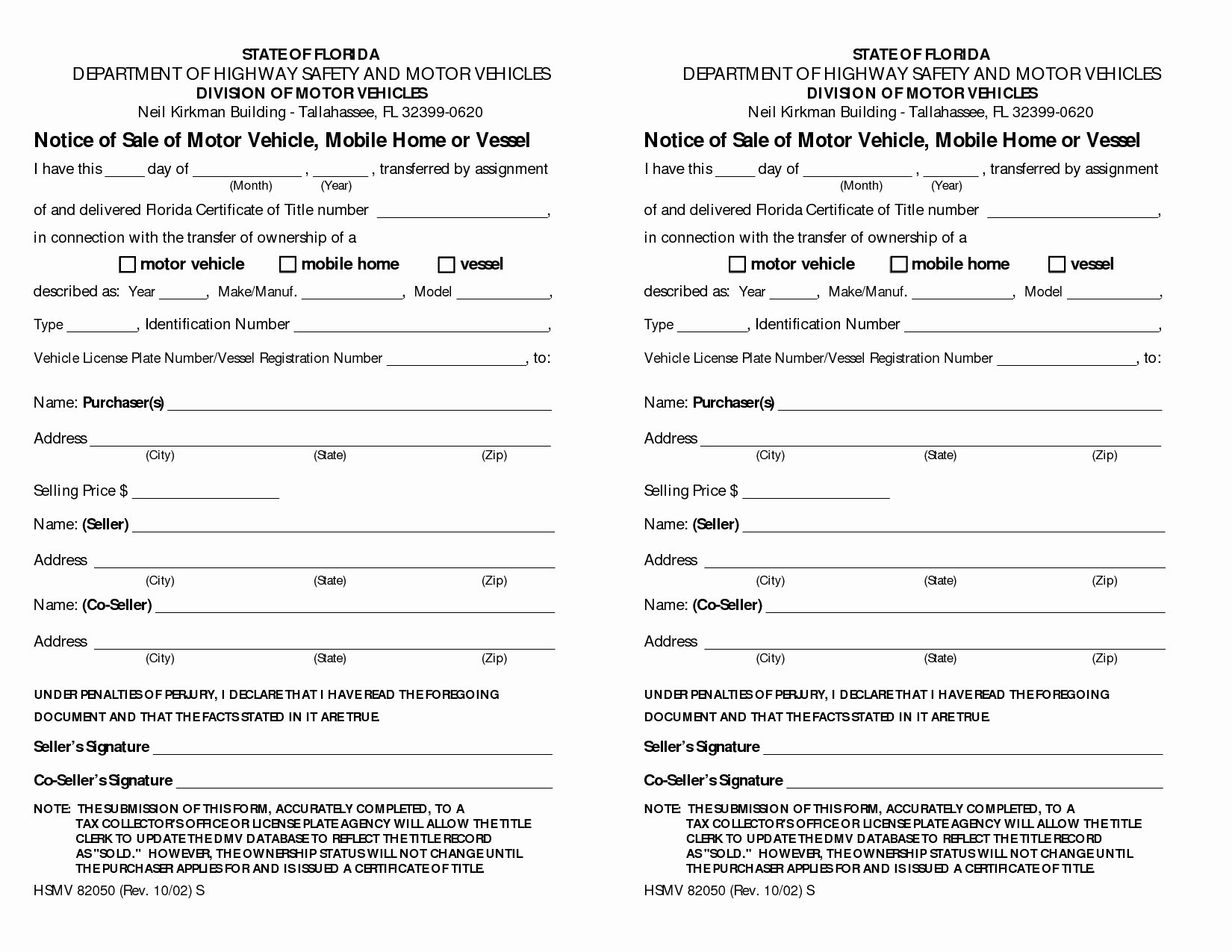 Bill Of Sale Auto Florida Fresh State Florida Bill Sale Motor Vehicle form Bestofhouse