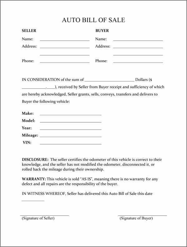 Bill Of Sale Auto form Elegant Bill Of Sale form Template