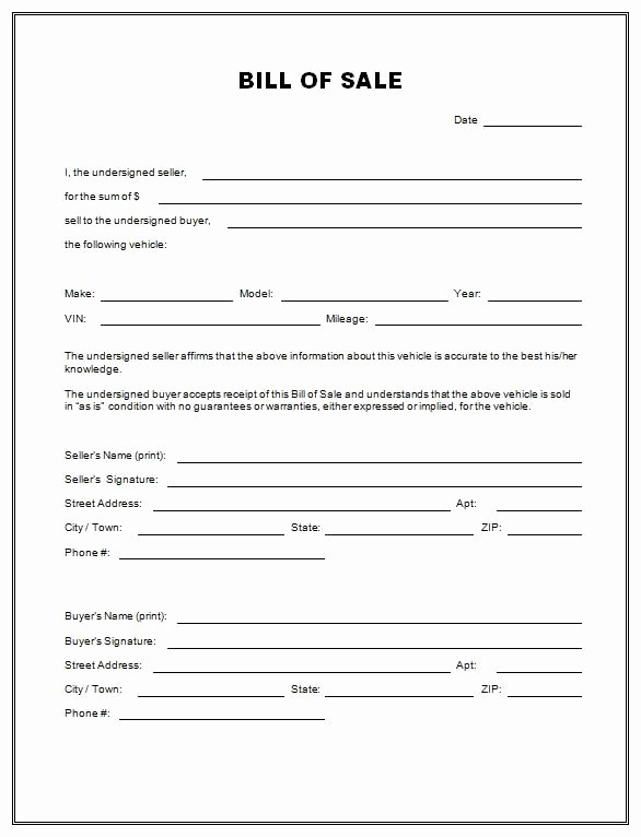 Bill Of Sale Auto form Fresh Free Vehicle Bill Sale