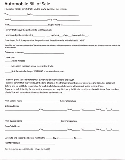 Bill Of Sale Auto form Luxury Free Printable Car Bill Of Sale form Generic