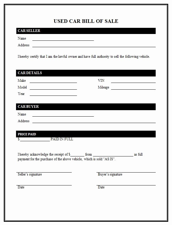 Bill Of Sale Automobile Template Awesome Used Car Bill Sale Template