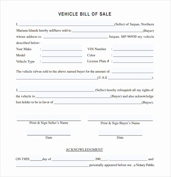 Bill Of Sale Automobile Template Elegant 14 Sample Vehicle Bill Of Sales – Pdf Word