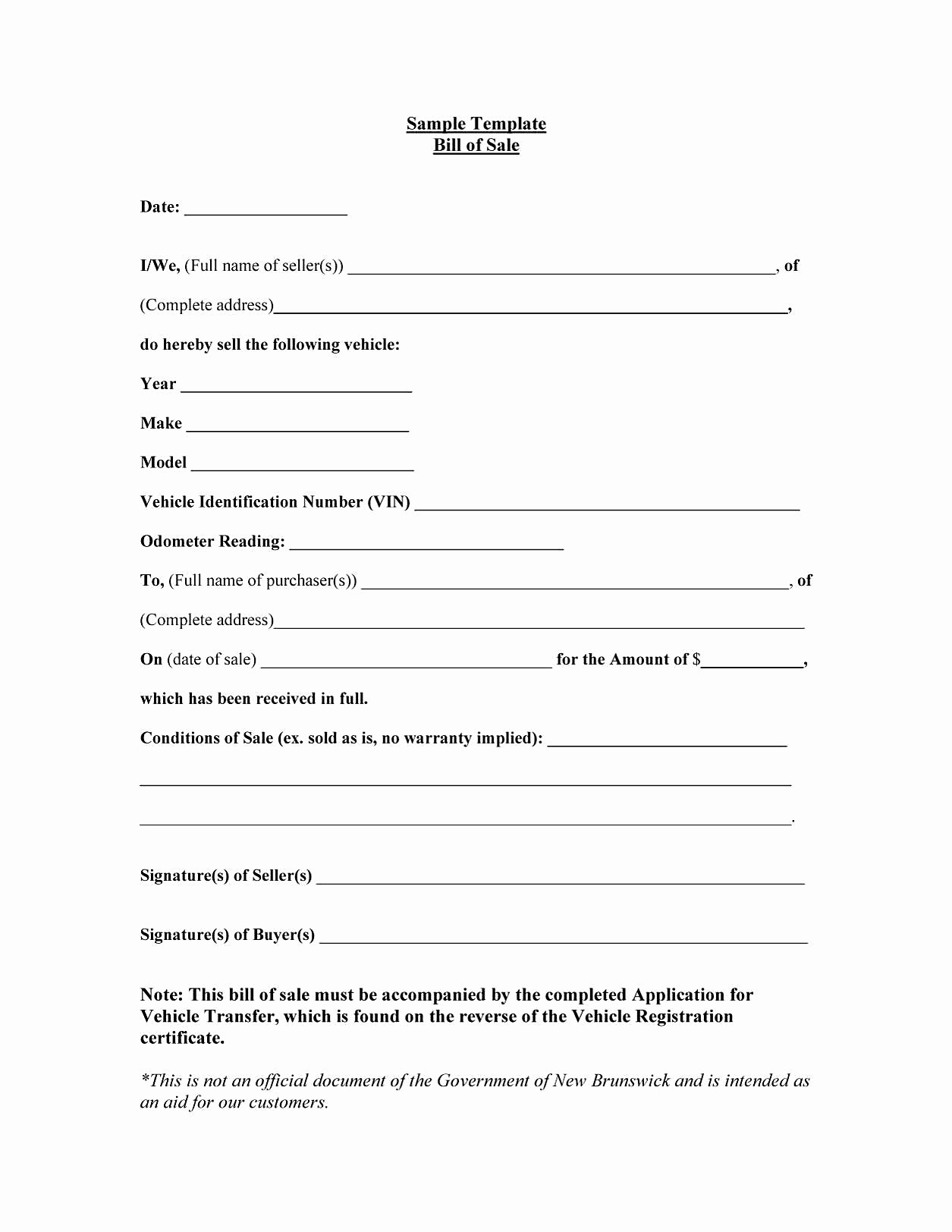 Bill Of Sale Automobile Template Fresh Bill Sale Sample Document Mughals