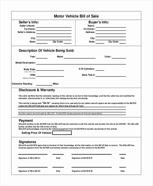 Bill Of Sale Automobile Template Inspirational Vehicle Bill Of Sale Template 14 Free Word Pdf