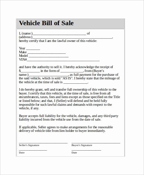 Bill Of Sale Automobile Template Unique Vehicle Bill Of Sale Template 14 Free Word Pdf