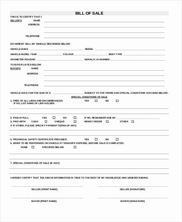 Bill Of Sale Blank Document Awesome Sample Bill Of Sale forms 22 Free Documents In Word Pdf