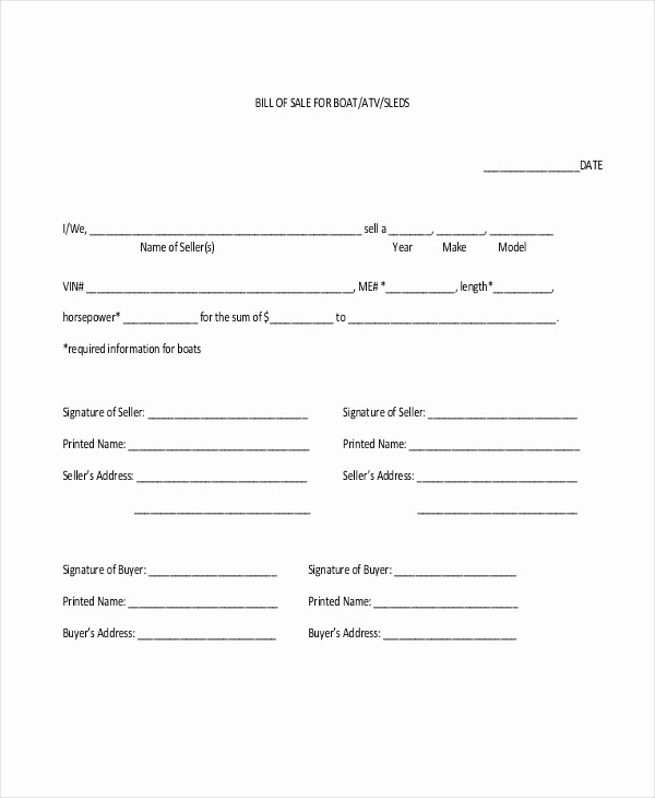 Bill Of Sale Blank Document Beautiful Sample Blank Bill Of Sale form 10 Free Documents In Pdf