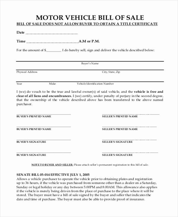 Bill Of Sale Blank Document Elegant 9 Sample Motor Vehicle Bill Of Sale forms