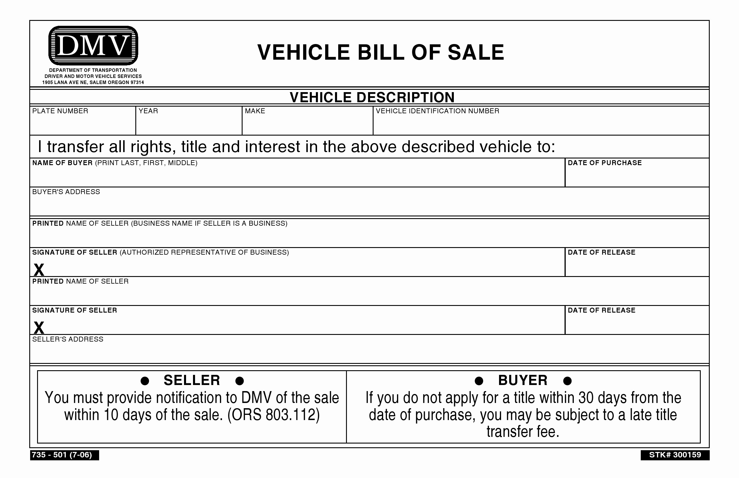 Bill Of Sale Blank Document New Free oregon Vehicle Bill Of Sale Pdf Word