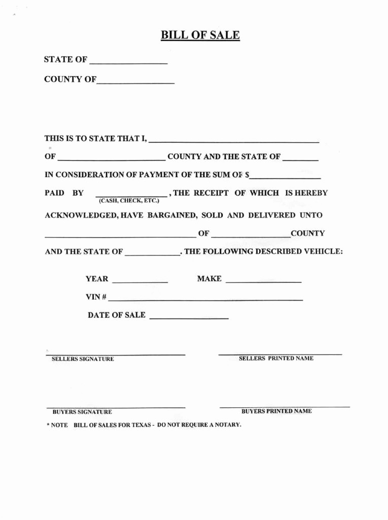 Bill Of Sale Blank Document Unique Blank Bill Sale for A Car form Download How