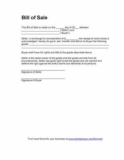 Bill Of Sale Blank Document Unique Blank Bill Sale