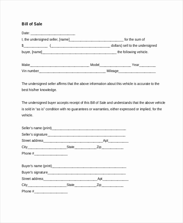 Bill Of Sale Car Free Best Of Sample Bill Of Sale Car form 7 Free Documents In Pdf Doc