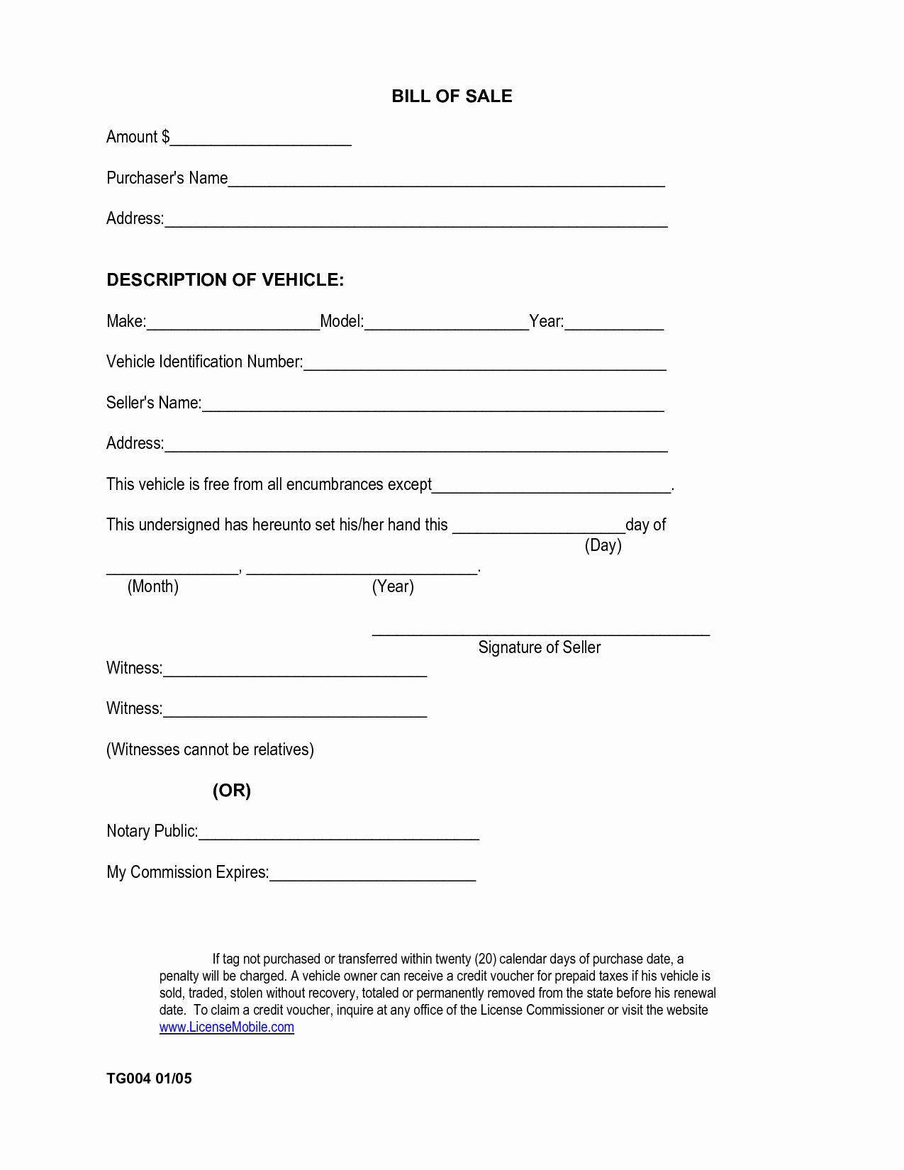 Bill Of Sale Car Free Elegant Free Printable Car Bill Of Sale form Generic