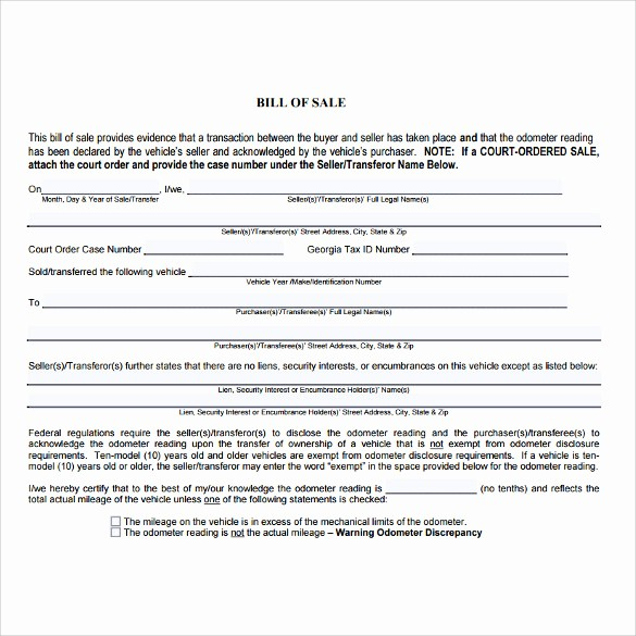 Bill Of Sale Car Georgia Best Of 7 Used Car Bill Of Sale Templates Download for Free