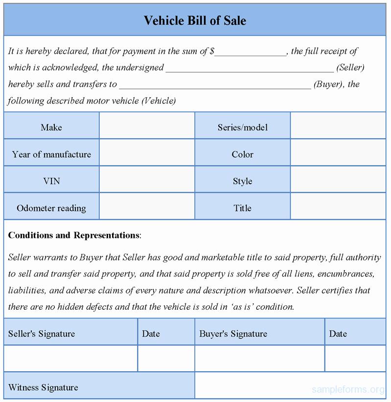 Bill Of Sale Car Sample Elegant Vehicle Bill Of Sale form Sample forms