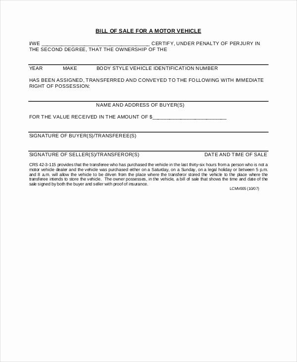 Bill Of Sale Car Sample Fresh Motor Vehicle Bill Of Sale 7 Free Word Pdf Documents