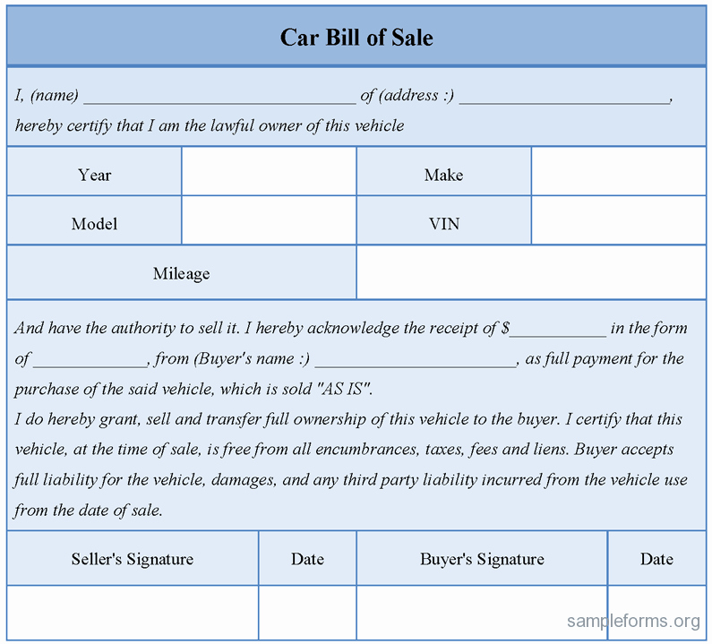 Bill Of Sale Car Sample Inspirational Car Bill Of Sale form Sample forms