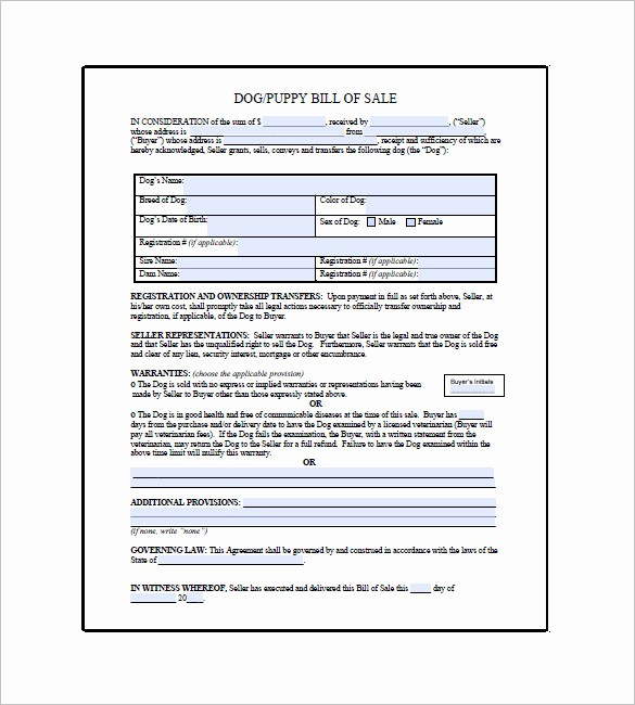 Bill Of Sale Contract Template Elegant Dog Bill Of Sale – 8 Free Sample Example format