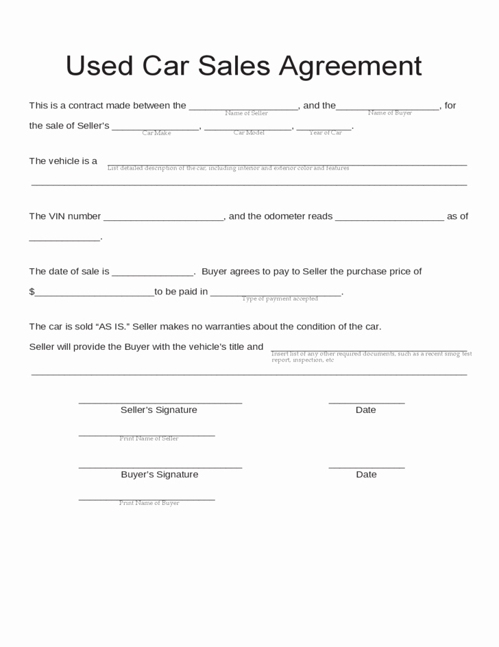 Bill Of Sale Contract Template New Blank Used Car Sales Agreement Free Download