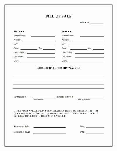 Bill Of Sale Document Template Elegant Bill Of Sale form Template Vehicle [printable]