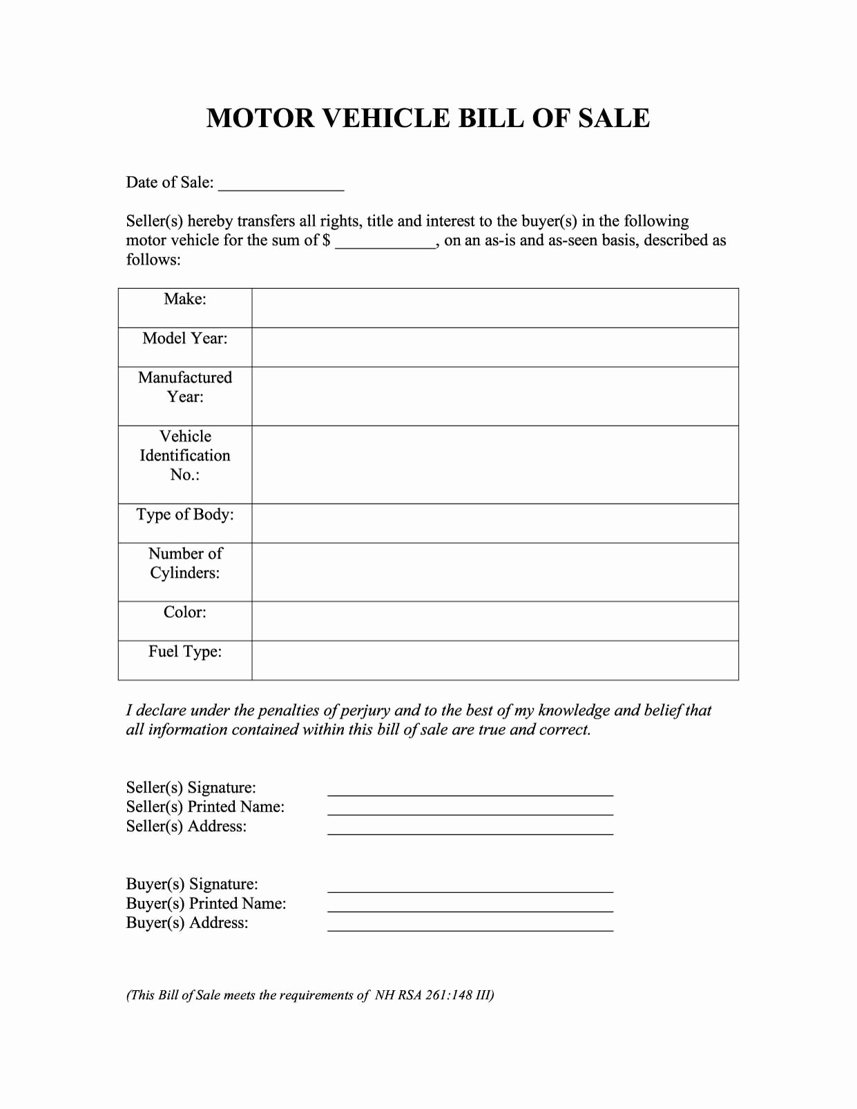 Bill Of Sale Document Template New 46 Fee Printable Bill Of Sale Templates Car Boat Gun