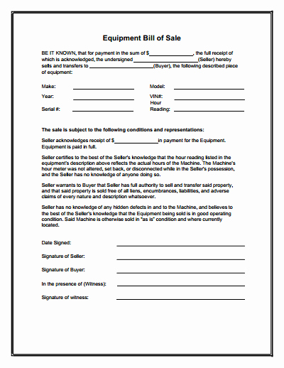 Bill Of Sale Document Template New Equipment Bill Of Sale form Download Create Edit Fill