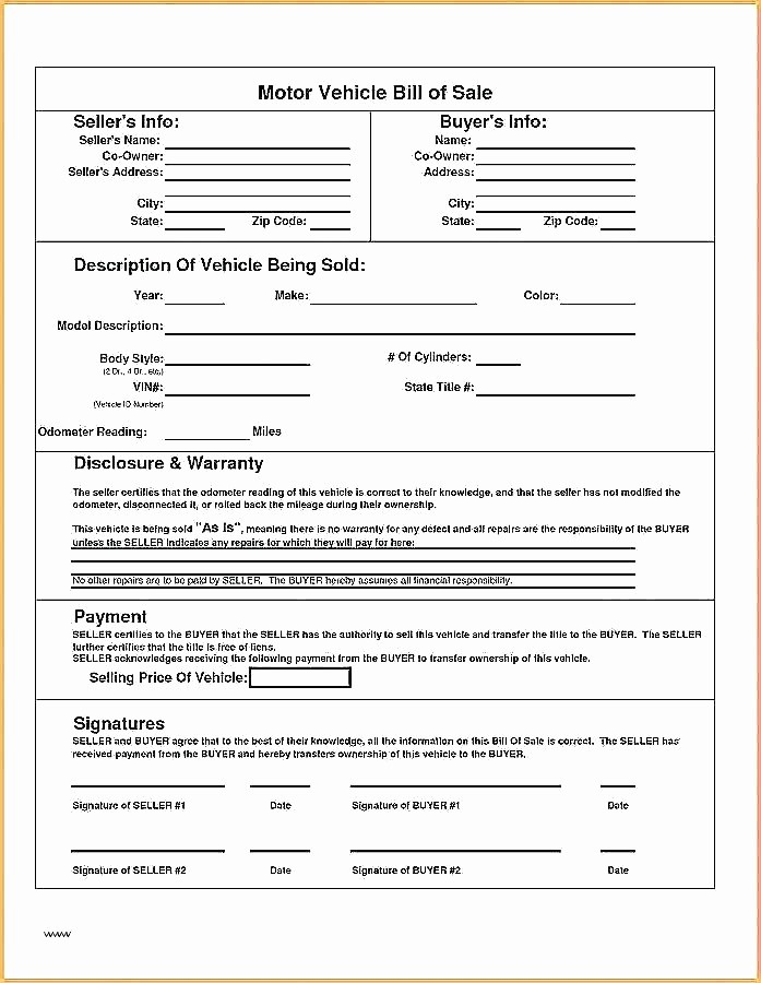 Bill Of Sale Document Template Unique Bill Of Sale form Template
