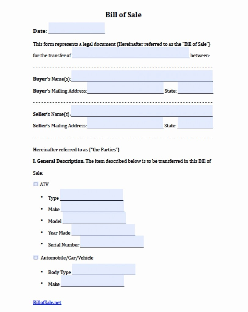 Bill Of Sale Document Template Unique Editable Bill Sale Template Free Boat Trailer form