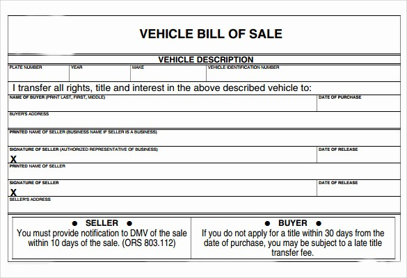 Bill Of Sale Example form Inspirational 8 Vehicle Bill Of Sale forms to Download