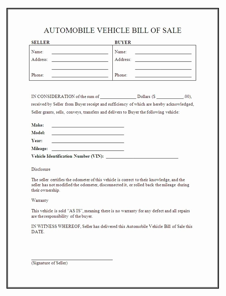 Bill Of Sale Example form Unique Printable Sample Free Car Bill Of Sale Template form