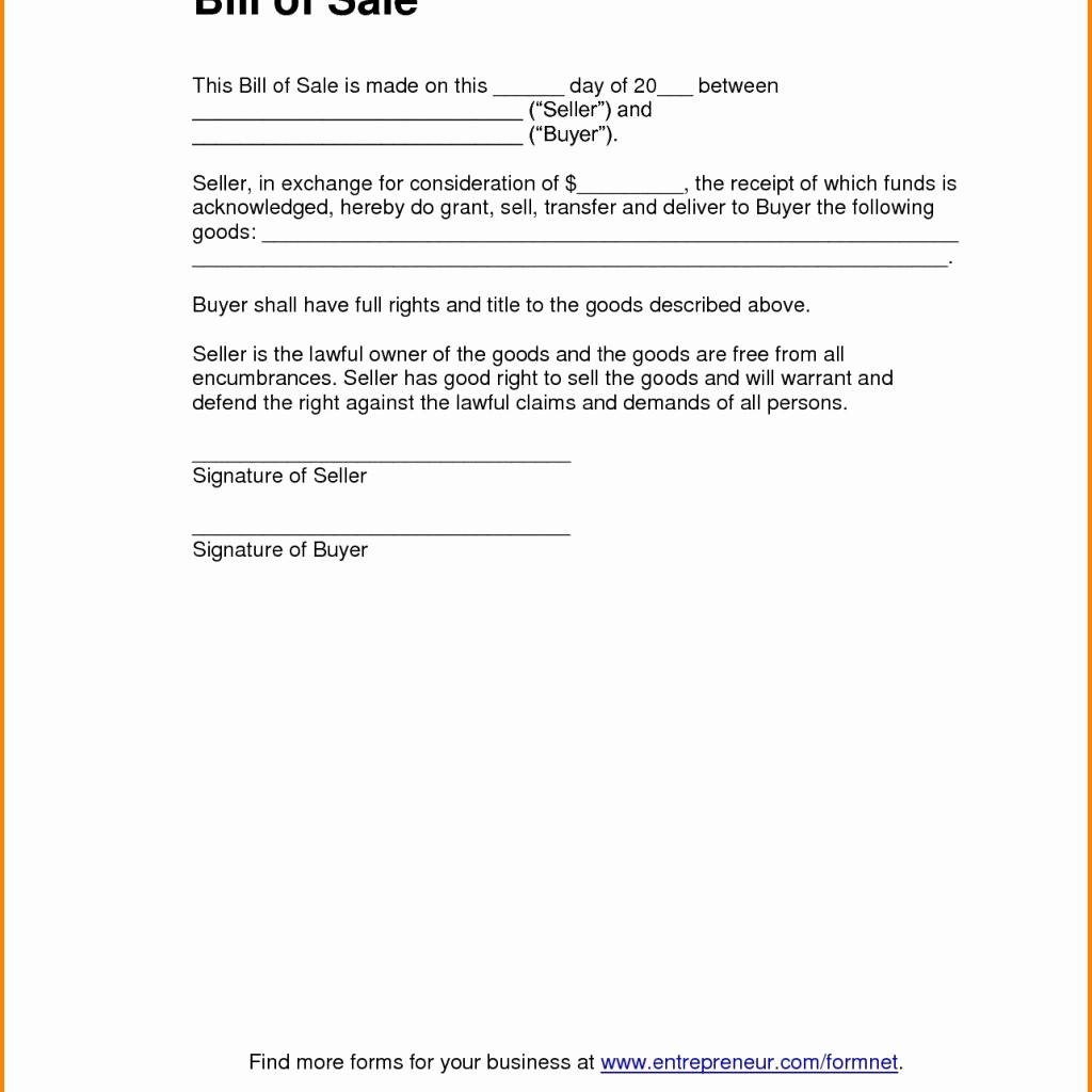 Bill Of Sale Example Letter Awesome Bill Sale Template Pdfll Sale form Car Letter