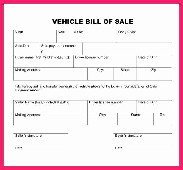 Bill Of Sale Example Letter Elegant Auto Bill Of Sale Template
