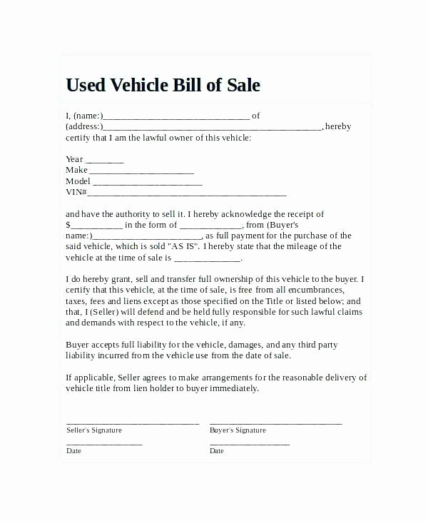 Bill Of Sale Example Letter Elegant Texas Motor Vehicle forms Impremedia