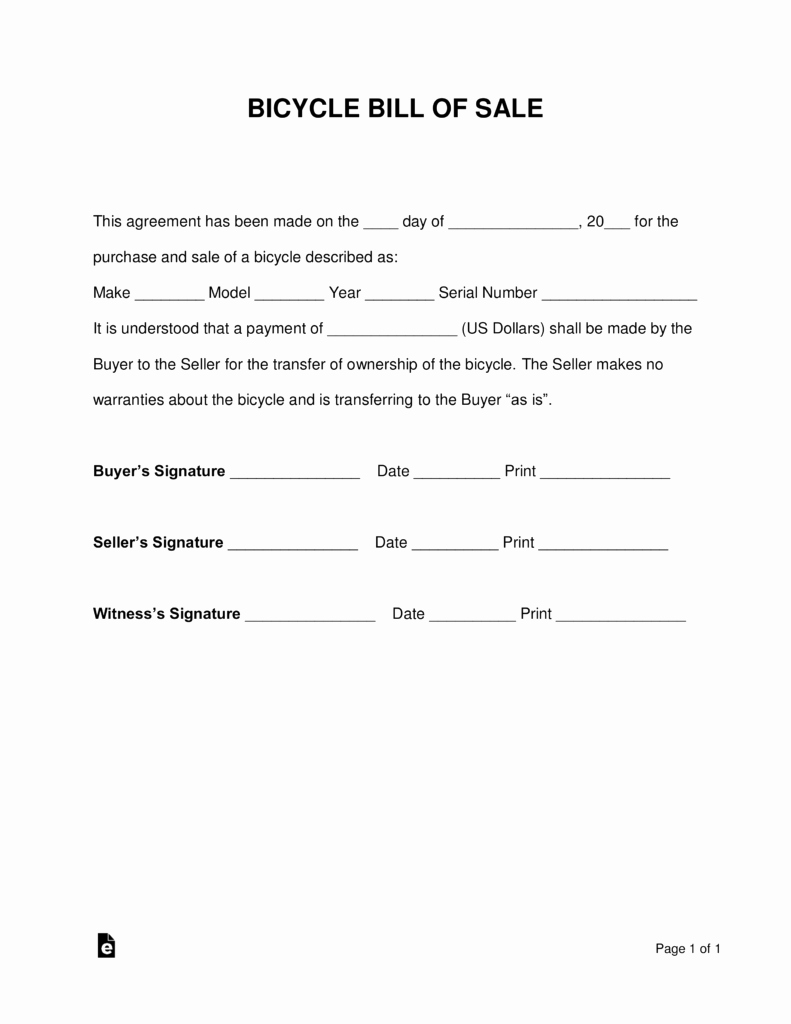 Bill Of Sale Example Letter Lovely Free Bicycle Bill Of Sale form Word Pdf