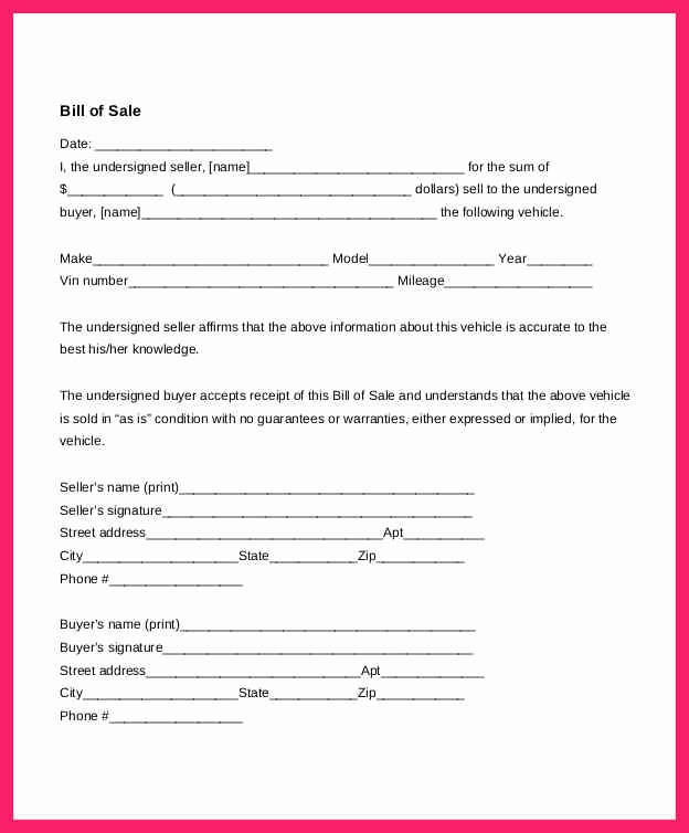 Bill Of Sale Example Letter Unique Auto Bill Of Sale Template