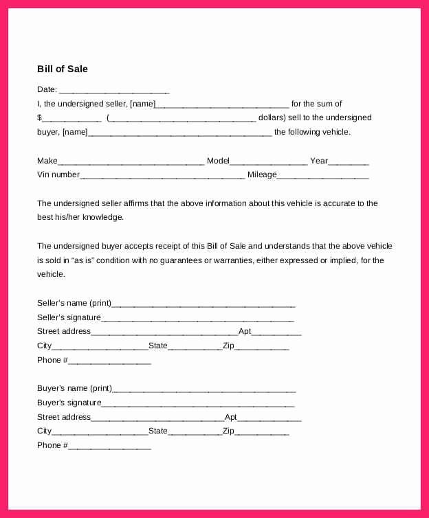 Bill Of Sale Example Letter Unique Auto Bill Of Sale Template