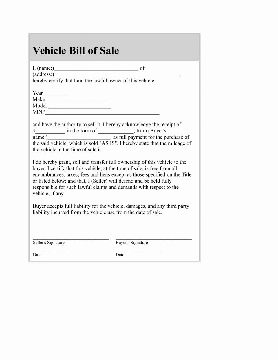 Bill Of Sale Fillable Pdf Awesome Automobile Bill Sale Template Pdf