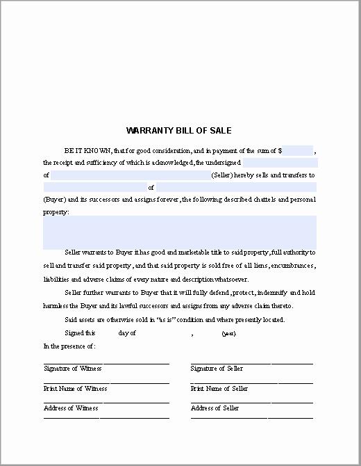 Bill Of Sale Fillable Pdf Beautiful Warranty Bill Of Sale form Free Fillable Pdf forms