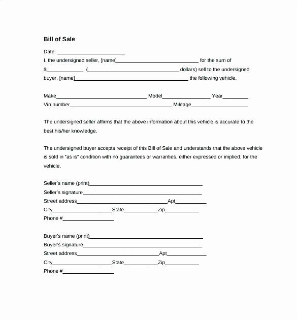 Bill Of Sale Fillable Pdf Fresh Auto Bill Sale Template Pdf Ga Vehicle Bill Sale