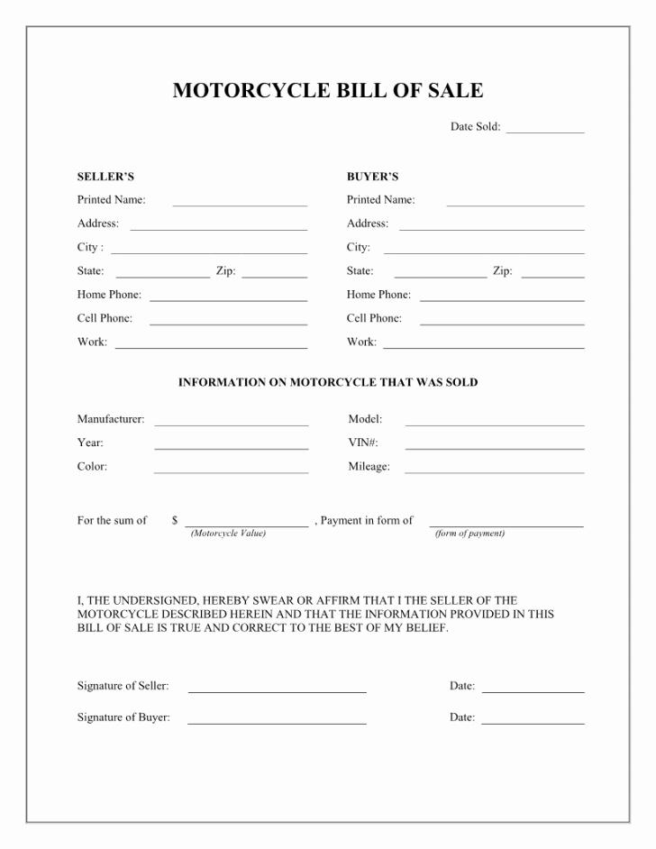Bill Of Sale Florida Vehicle New Bill Bill Sale form