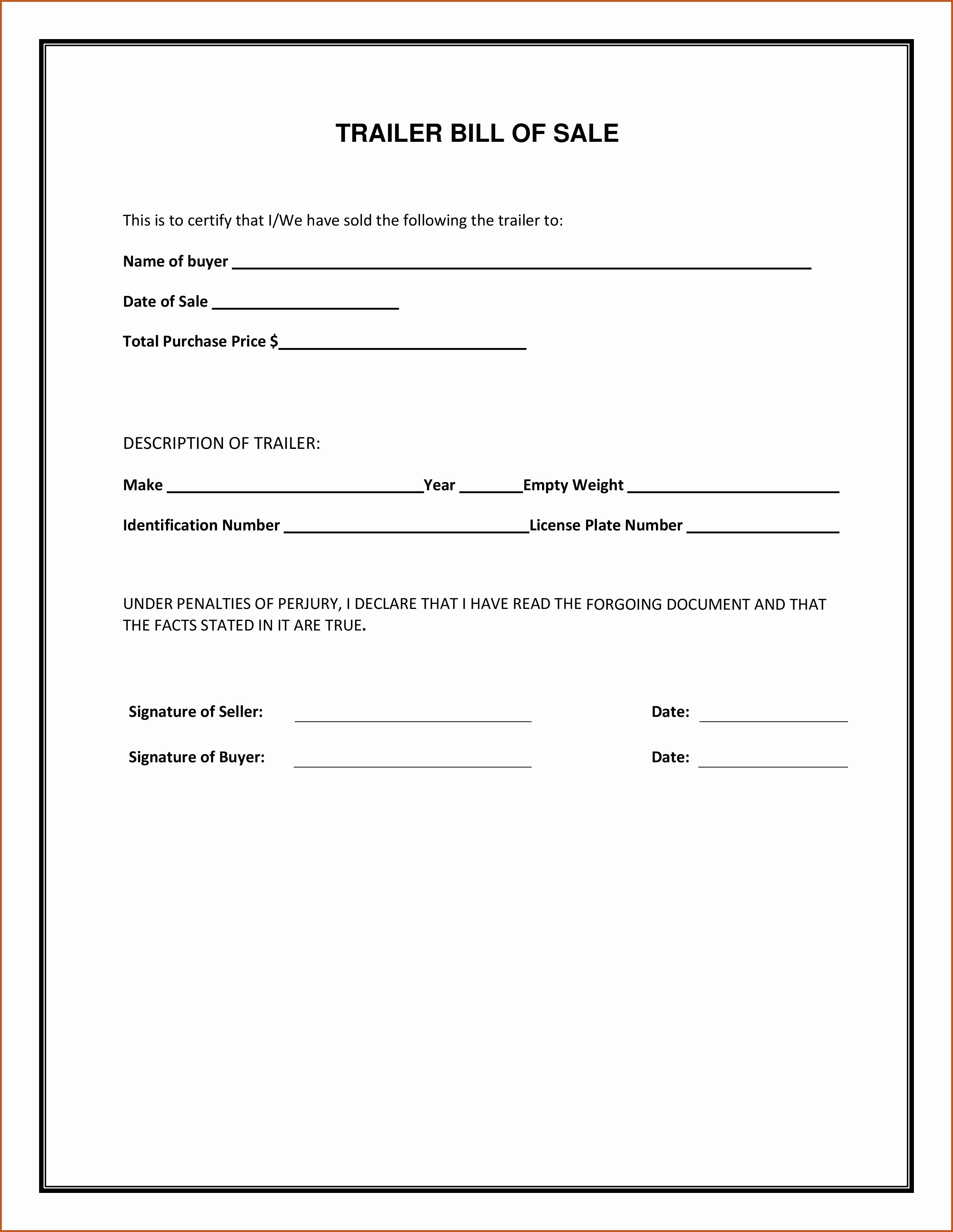 Bill Of Sale Florida Vehicle New Sample Bill Sale Printable for Rv form forms and
