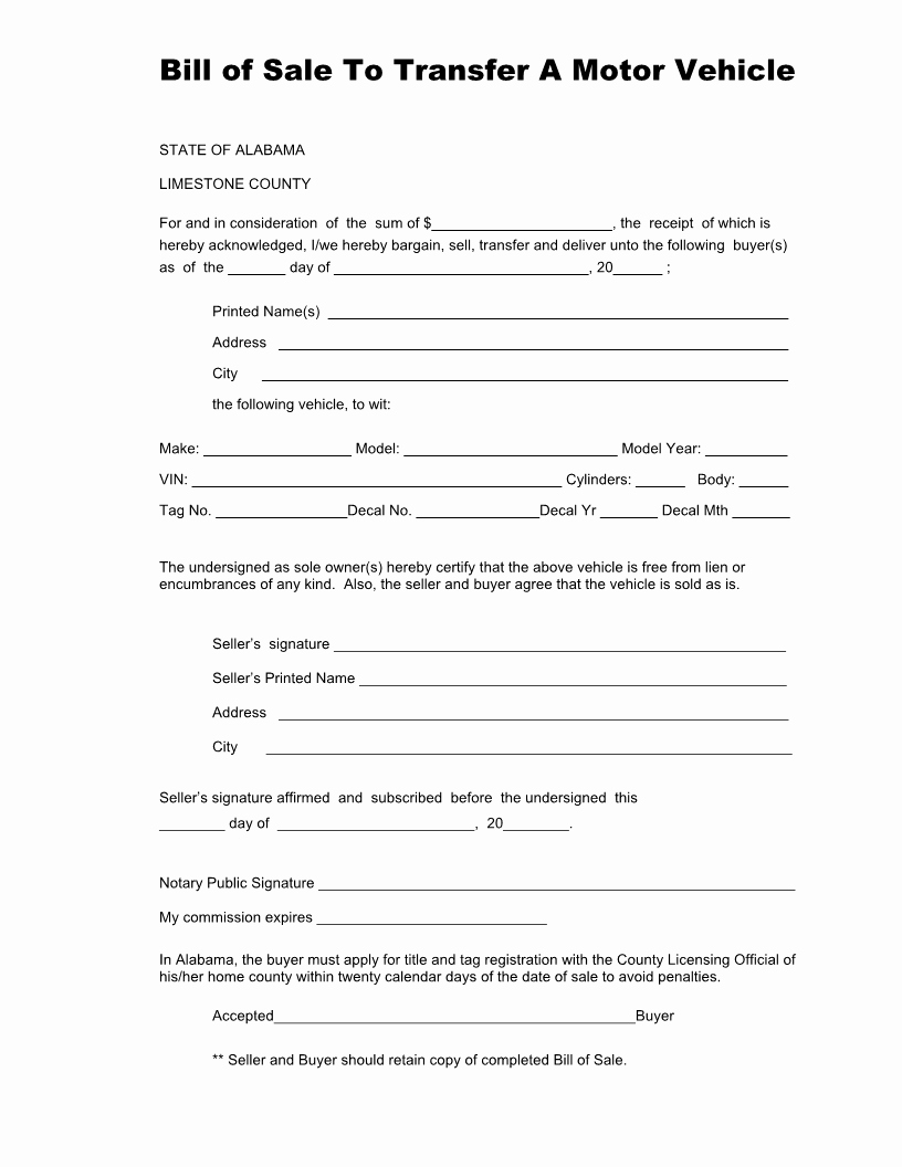 Bill Of Sale form Automobile Elegant Free Alabama Vehicle Bill Of Sale form for Limestone